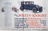 1925 Willys Knight Ad ~ Enequaled Performance