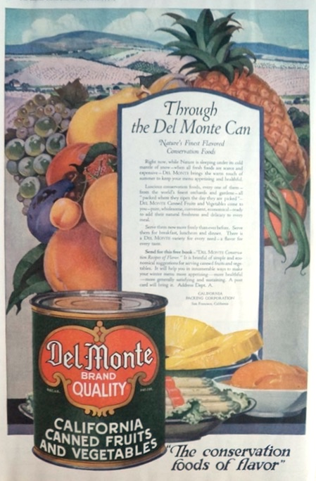 1919 Del Monte Canned Fruits & Vegetables Ad ~ Conservation Foods