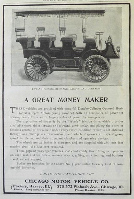 1903 Chicago Motor Co Friction Drive Automobile Ad