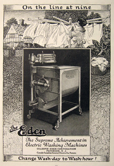 1923 Antique Eden Washing Machine Ad On The Line At Nine