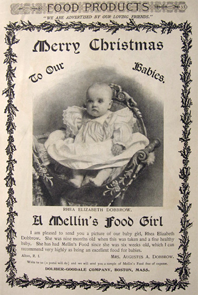 1897 Mellin's Baby Food Ad ~ Rhea Dobbrow, Alton, RI
