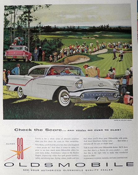 1957 Olds Super 88 Holiday Sedan Ad ~ Golf Course