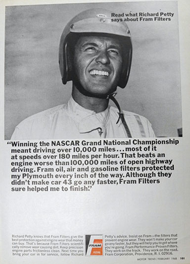 1968 Fram Filters Ad ~ NASCAR Driver Richard Petty