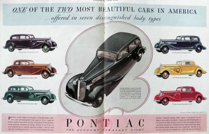 1934 Pontiac Ad ~ Seven Body Types, 2 Pages