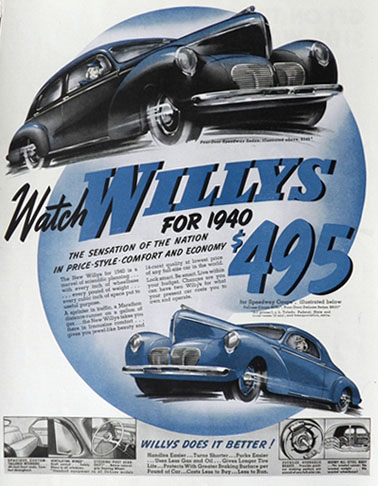 1940 WIllys Speedway Sedan Ad ~ Sensation of the Nation