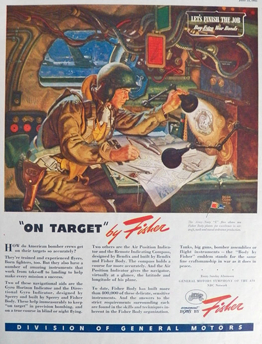 1945 WWII Body by Fisher Ad ~ Bomber Crews ~ Dean Cornwell