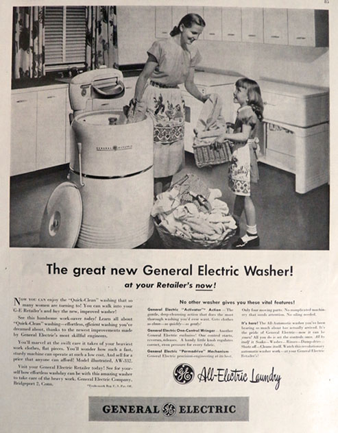 1947 Vintage GE Washing Machine Ad All Electric