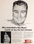 1962 Tea Council Ad ~ Robert Riger Art ~ Coach Ray Meyer