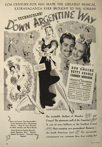 1940 Movie Ad ~ Down Argentine Way ~ Don Ameche, Betty Grable