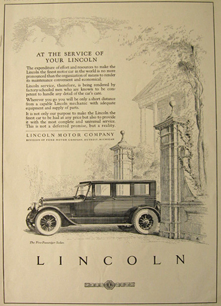1923 Five Passenge Lincoln Sedan Ad