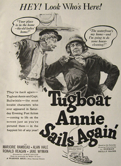 1940 Movie Ad ~ Tugboat Annie Sails Again