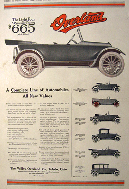 1917 Willys Overland Ad ~ Complete Line of Autos