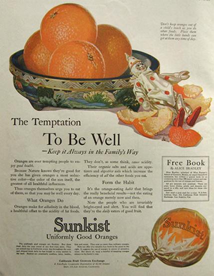 1912 Sunkist Oranges Ad ~ The Temptation to Be Well