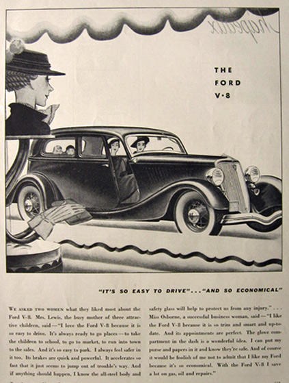 1934 Ford V-8 Ad ~ Easy to Drive