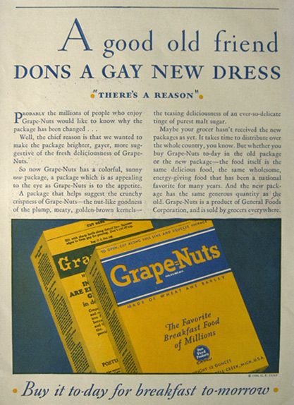 1930 Grape Nuts Cereal Ad ~ New Packaging