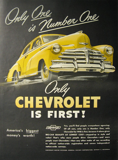 1948 Vintage Chevrolet Chevy Ad ~ One is Number One