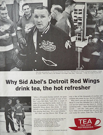 1962 Tea Council Ad ~ Sid Abel, Red Wings Photo