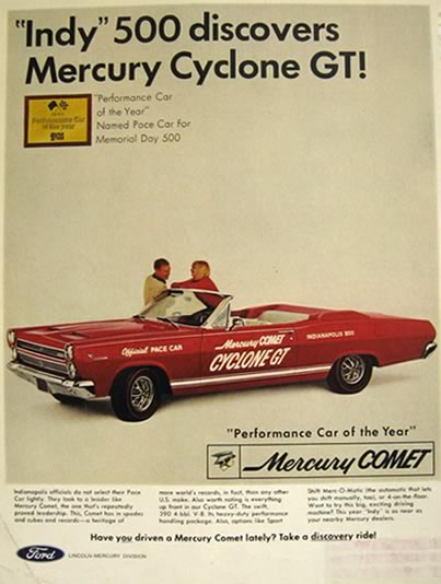 1966 Mercury Comet Cyclone GT Ad ~ Indy Pace Car