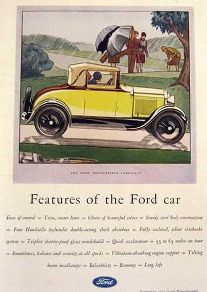 1929 Ford Convertible Cabriolet Ad