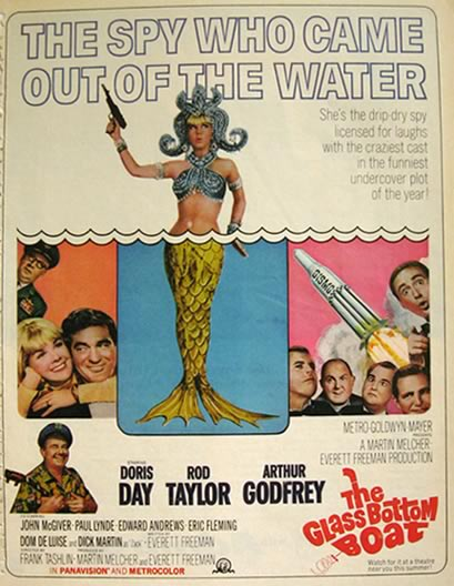 1966 Movie Ad ~ Glass Bottom Boat ~ Doris Day