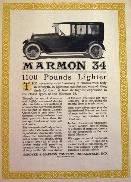 1916 Marmon 34 Automobile Ad