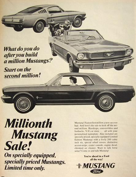 1966 Ford Mustang Ad Millionth Mustang Vintage Magazine Ads