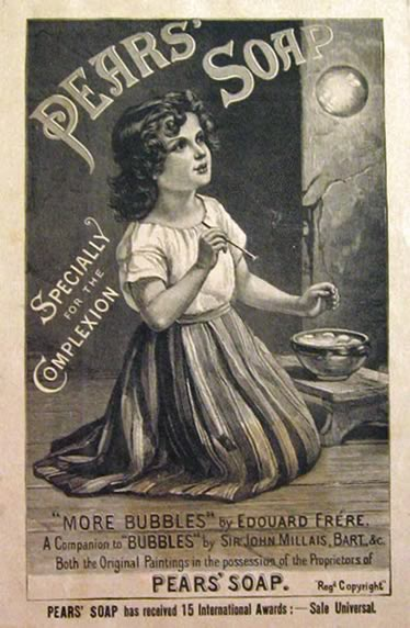 1888 Pears Soap Ad Edouard Frere Girl With Bubbles