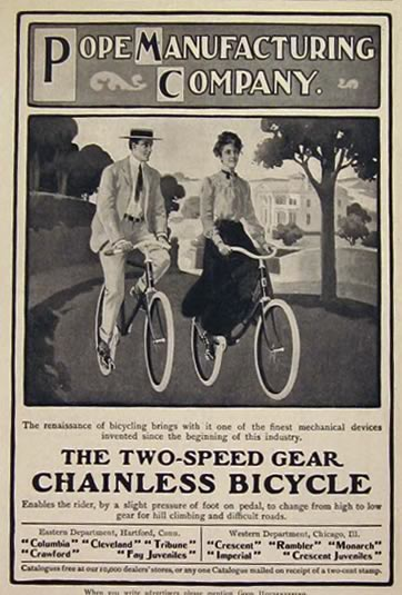 1904 Pope Two Speed Chainless Bicycle Ad