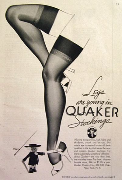 1937 Quaker Stockings Ad ~ George Petty Art
