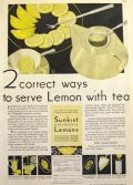 1932 Sunkist Lemons Ad ~ How to Serve Tea with Lemon