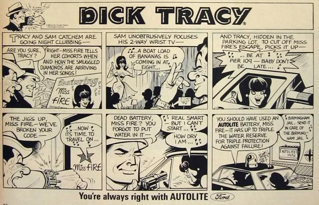 1966 Ford Autolite Spark Plugs Ad ~ Dick Tracy Cartoon
