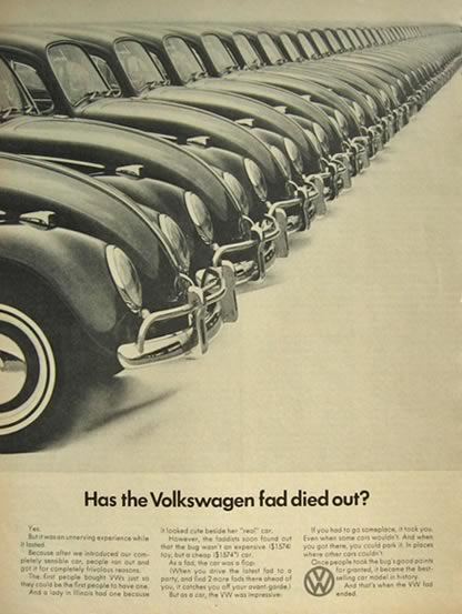 1966 Volkswagen VW Beetle Ad ~ Has the Fad Died Out?