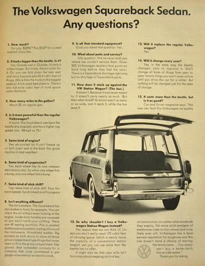 1966 Volkswagen VW Squareback Sedan Ad ~ Any Questions?
