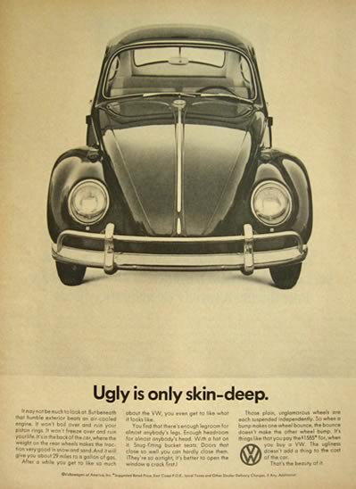 1966 Volkswagen VW Beetle Ad ~ Ugly is Only Skin Deep