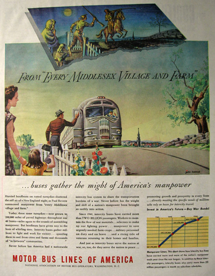 1945 WWII Motor Bus Lines Ad ~ Manpower