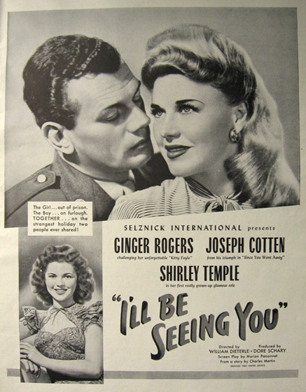 1944 Movie Ad ~ I'll Be Seeing You ~ Ginger Rogers