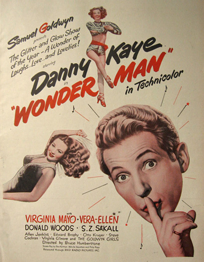 1945 Movie Ad ~ Wonder Man ~ Danny Kaye, Virginia Mayo