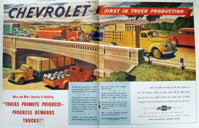 1945 Chevy Trucks Ad ~ First in Truck Production