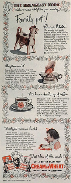 1945 Cream of Wheat Ad ~ Elsie Cow Creamer