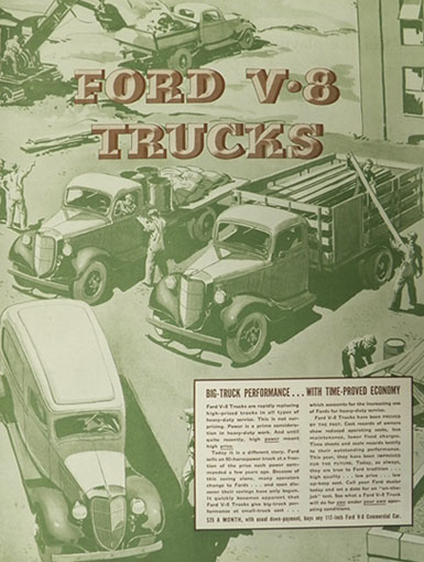 1936 Ford V-8 Trucks Ad ~ Big Truck Performance