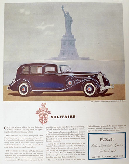 1936 Packard Twelve Town Car Ad ~ Statue of Liberty