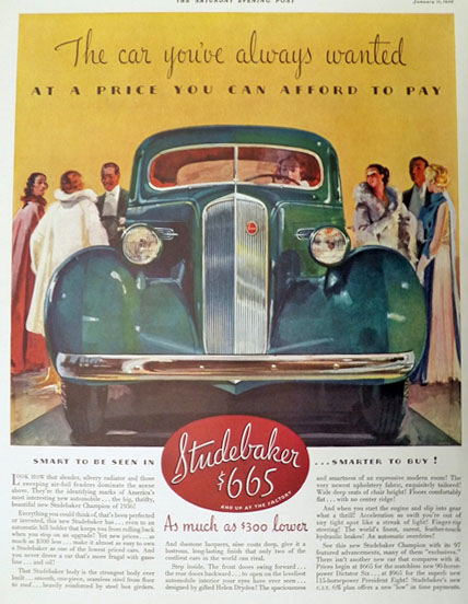 1936 Studebaker Champion Car Ad ~ A Price You Can Afford