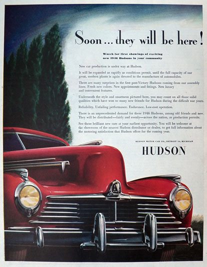 1946 Hudson Automobile Ad ~ Nice Deco Art