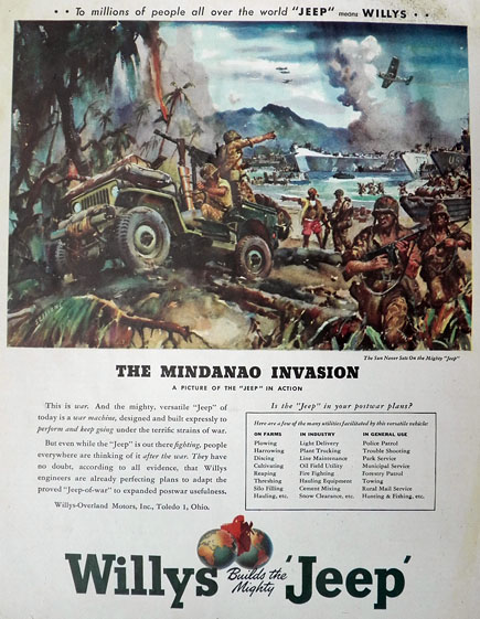 1945 Willys Jeep Ad ~ Mindanao Invasion