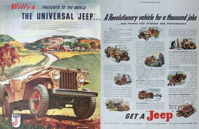 1945 Willys Universal Jeep Ad ~ Two Pages