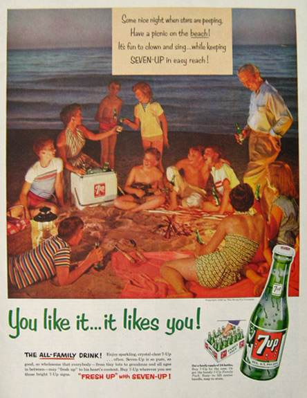 1954 Vintage Seven Up 7Up Soda Ad ~ Beach Picnic