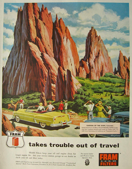 1954 Fram Filters Ad ~ Garden of the Gods, CO