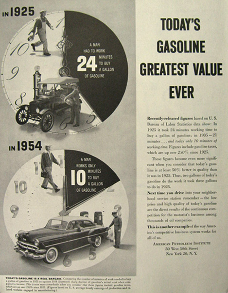 1954 American Petroleum Ad ~ Gas is a Great Value