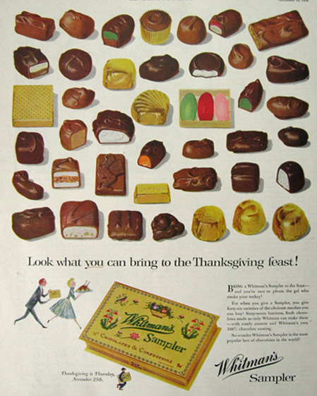 1954 Whitman's Chocolate Ad ~ 46 Varieties of Candy