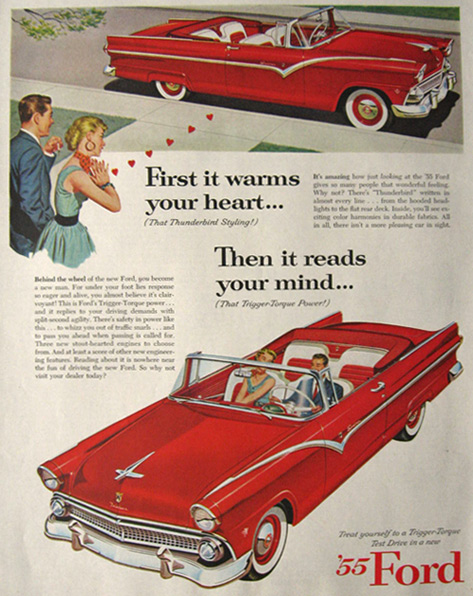 1955 Ford Fairlane Convertible Ad ~ Warms Your Heart
